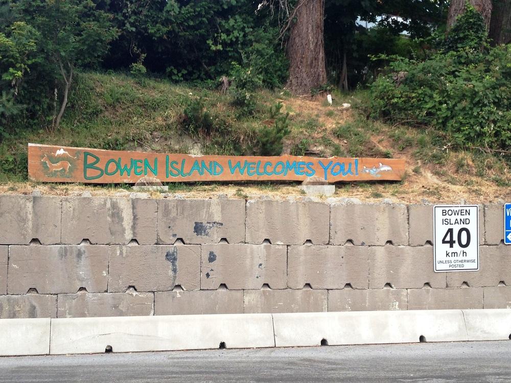 bowen island welcome sign